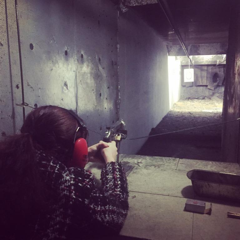 Me lining up the .22 Revolver